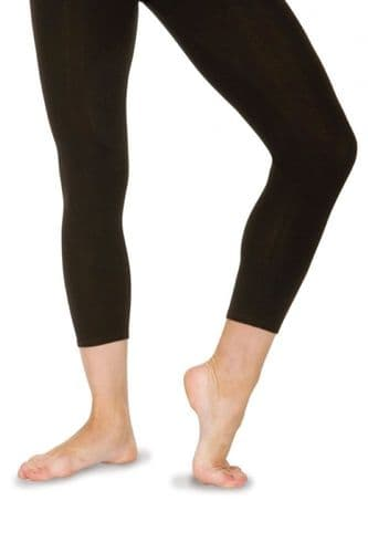 Roch Valley Footless Calf  LengthTights Leggings Cotton Lycra Black Dance Gym From £15.99
