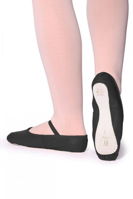 Roch Valley Ophelia Leather Ballet Shoes Full Suede Sole Pre-attached Elastics Pink