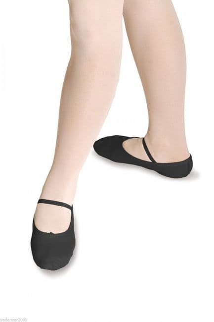 Roch Valley WIDE FIT BLACK LEATHER BALLET SHOES Full Suede Sole Child and Adult Sizes