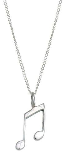 """Sterling Silver Musical Note Pendant Necklace 18"""" chain Gift for Musician Singer"""