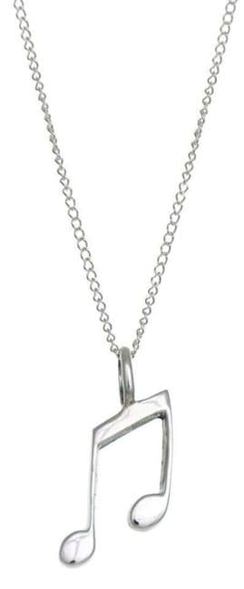 Sterling Silver Musical Note Pendant Necklace 18