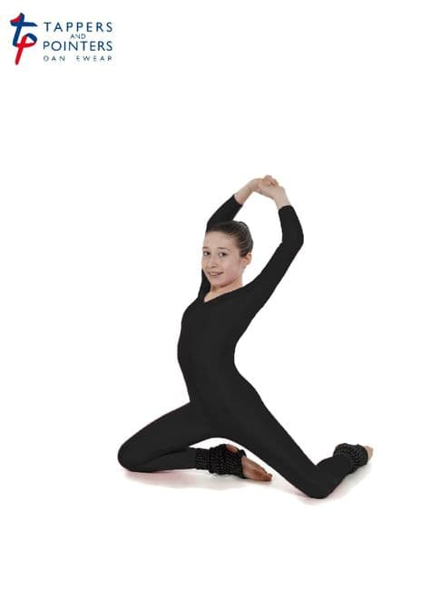 T&P Long Sleeved All In One Catsuit Scoop Neckline Stirrup Foot Black Dance Acro