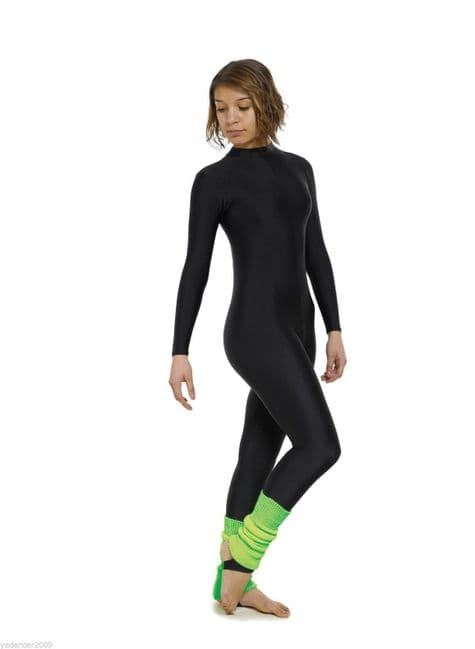 T&P Turtle Neck Long Sleeve All In One Catsuit Keyhole Back Stirrup Foot Black