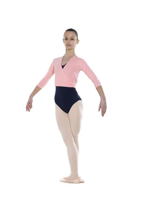 Tappers and Pointers Dance Cross-Over Wrap Top Cardigan Cotton Lycra Pink