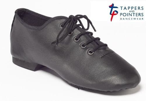 Tappers and Pointers Split Sole Leather Jazz Shoes Black Child & Adult Sizes