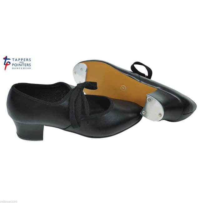 Tappers and Pointers Tap Shoes Cuban Heel with Fitted Toe and Heel Taps Black