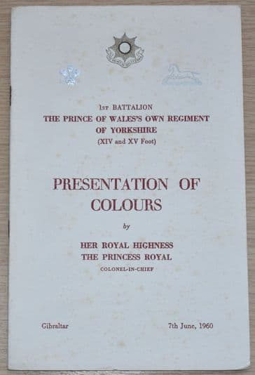 1st Battalion The Prince of Wales's Own Regiment of Yorkshire Presentation of Colours, 7th June 1960