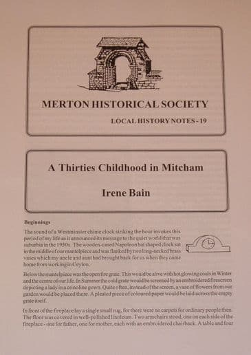 A Thirties Childhood in Mitcham, by Irene Bain