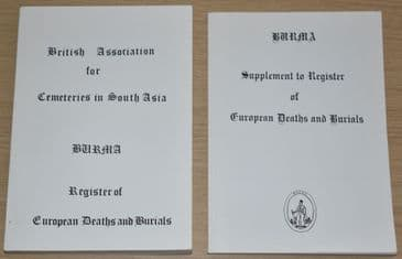 Burma Register of European Deaths and Burials, and seperate Supplement