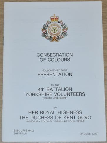 Consecration of Colours followed by their Presentation to the 4th Bn Yorkshire Volunteers, June 1989