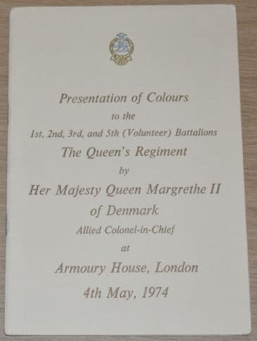 Presentation of Colours to the 1st, 2nd, 3rd and 5th (Volunteer) Bns The Queens Regiment, May 1974