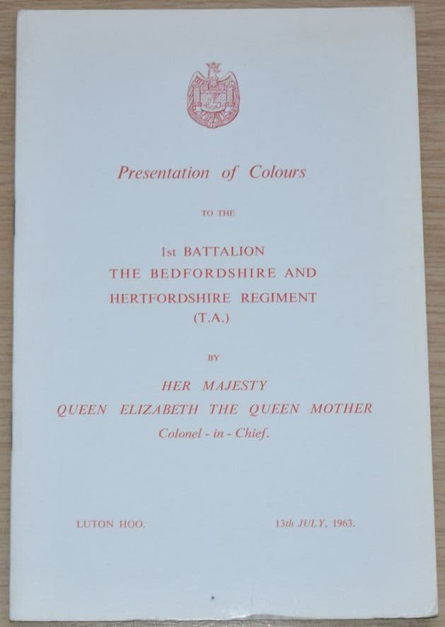 Presentation of Colours to the 1st Battalion The Bedfordshire & Hertfordshire Regiment, July 1963