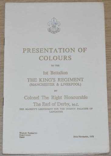 Presentation of Colours to the 1st Battalion The King's Regiment, 24th November 1958