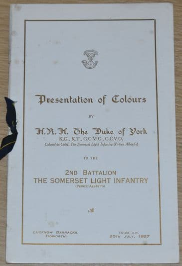 Presentation of Colours to the 2nd Battalion The Somerset Light Infantry, 20th July 1927