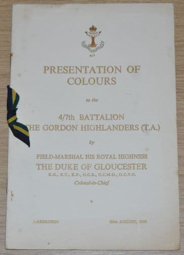 Presentation of Colours to the 4/7th Battalion The Gordon Highlanders (T.A.), 20th August 1955