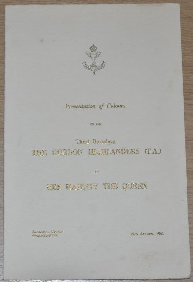 Presentation of Colours to the Third Battalion The Gordon Highlanders, 19th August 1961