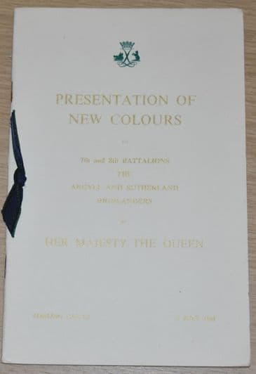 Presentation of New Colours to 7th and 8th Battalions the Argyll and Sutherland Highlanders, 1961