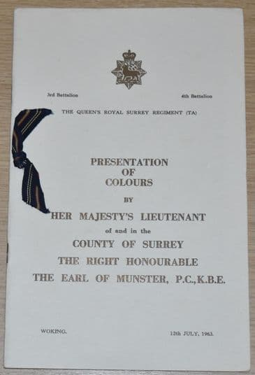 The Queens Royal Surrey Regiment (TA) Presentation of Colours, 12th July 1963