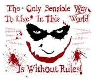 Heath ledger Batman Joker 'The only sensible way to live in this life...' t-shirt