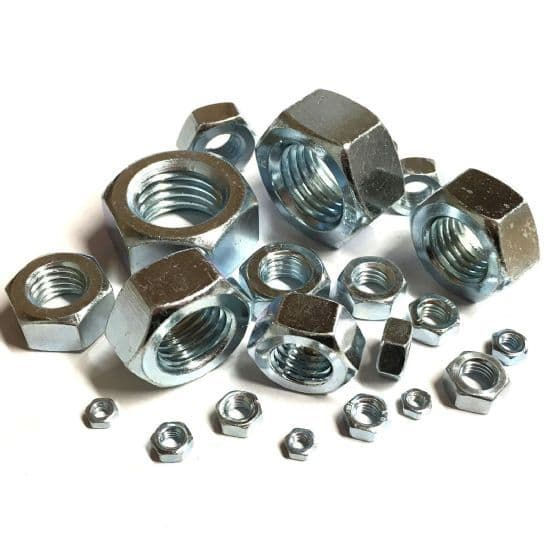M10 x 1.25mm Full Nuts Fine Pitch - BZP