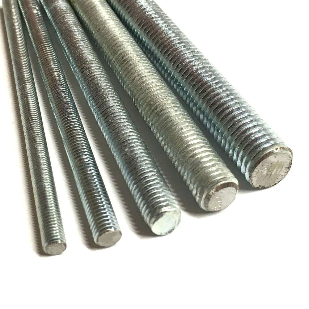 M27 x 1.5mm x 1 Metre Fine Pitch Threaded Bar - 8.8 Zinc Plated