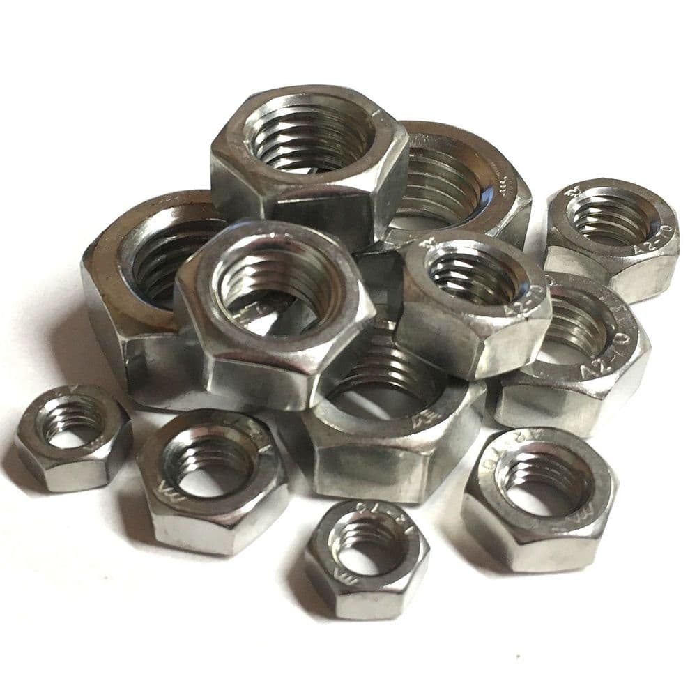 M6 x 0.75mm Fine Pitch Full Nuts - Stainless