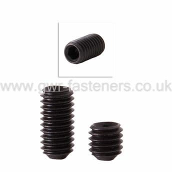 M8 x 1mm Pitch Socket Cup Point Grub Screws - High Tensile Steel