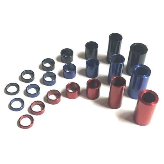 Stainless Steel Spacers/Standoff Collars - GWR Colourfast® Red Blue Black
