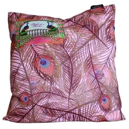Birds of a Feather, Lilac Peacock Design Cushion Cover