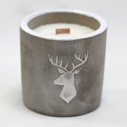 Concrete Wooden Wick Candle, Whiskey & Woodsmoke