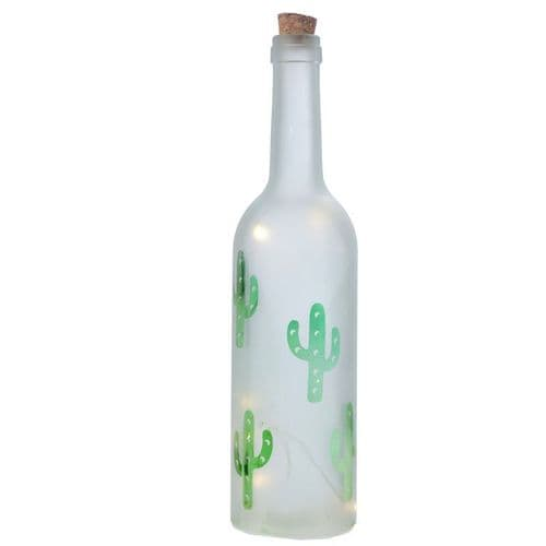 Frosted Glass Bottle Cactus LED Lamp