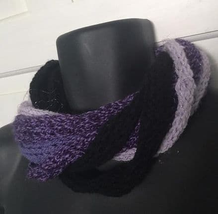 Handknitted Infinity Scarf, Purples and Black, French Knitting, Unisex Gift Idea