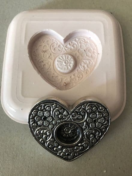 Heart Shaped Incense Cone Burner Silicon Mould