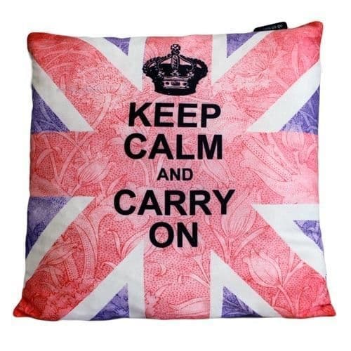 Keep Calm and Carry On, Union Jack Design Cushion Cover
