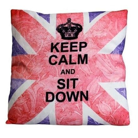 Keep Calm and Sit Down, Union Jack Design Cushion Cover
