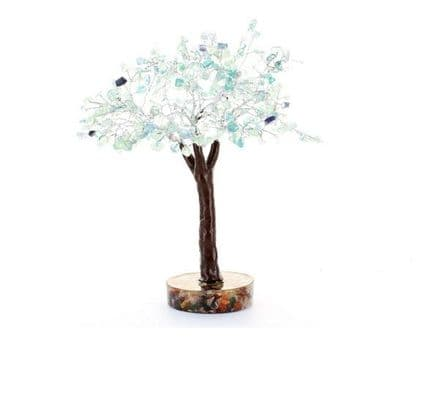Large Orgone Base Fluorite Crystal Gem Tree 130 leaves
