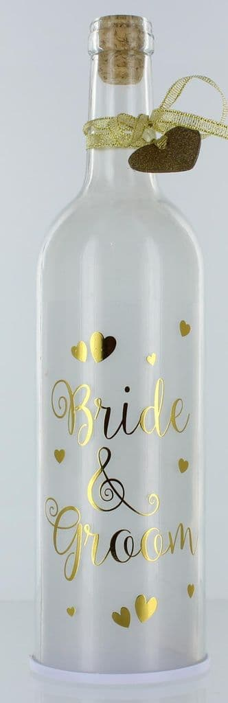 LED Light Up Firefly White & Gold Wedding Bottles Gift Bride & Groom