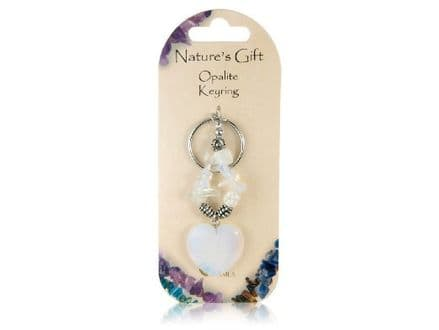 Natures Gift Heart Shaped Opalite Keyring