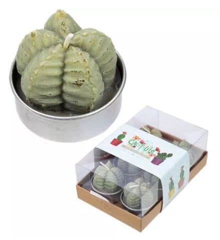 Ridged Cactus Green Tealight Candle, 6 Pack, Fun Gift Idea, Table Decoration