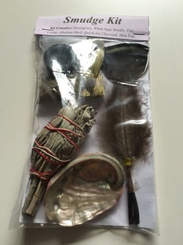 Sage Smudge Kit Cleansing, Sweet grass,  Abalone Shell