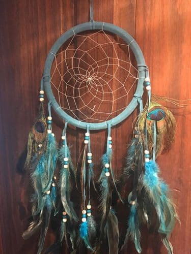 Turquoise Dreamcatcher with Peacock Feathers
