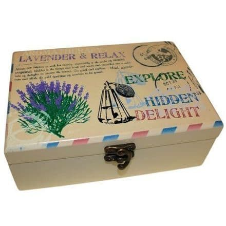 Vintage Stencilled Wooden Aromatherapy Oil Gift Box, Lavender, 24 bottle