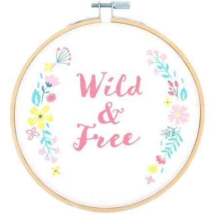 Wild and Free Decorative Hoop Plaque 15cm