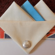 Cream and Light Blue Hankie With Cream Flap and Pin