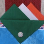Green, White and Orange Hankie With Orange Flap and Pin