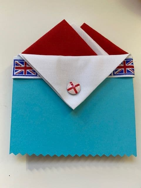 Red and White Hankie With White Flap & St George Pin