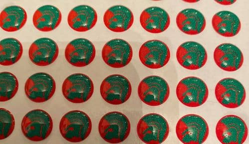 Trojan Head Green and Red Background Hankie Pin 10mm