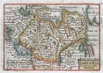 ASIA,TARTARY Anian, Korea island, Van Den Keere Miniature Speed antique map 1675