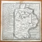 BEDFORDSHIRE, BADESLADE & TOMS original miniature antique map 1741