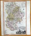 BEDFORDSHIRE, Langley & Belch Original Antique County Map 1818